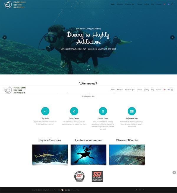 Κατασκευή ιστοσελίδας του Poseidon Diving Academy