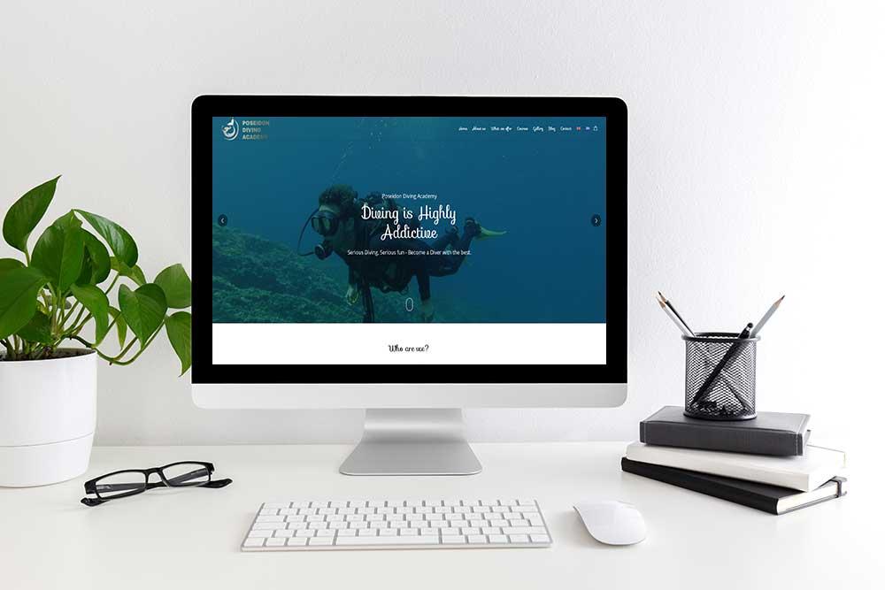 Κατασκευή ιστοσελίδας του Poseidon Diving Academy από την iservices